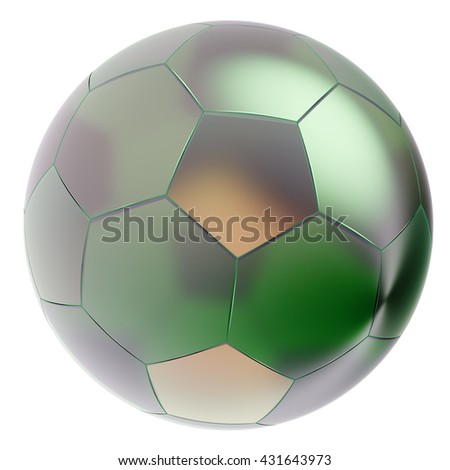 Glass soccer ball. Isolated on white background. Include clipping path. 3d render - stock photo