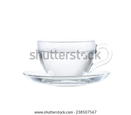 glass tea cup with water. Isolated on white background - stock photo