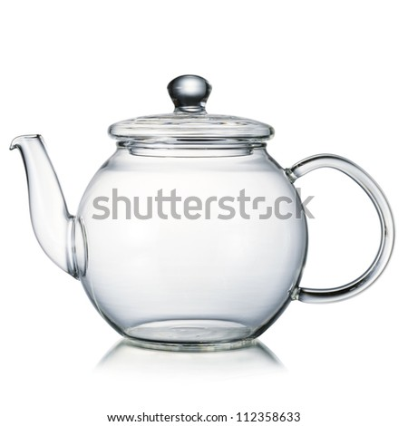 Glass teapot isolated on white background - stock photo