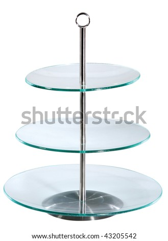 Glass three - level cake stand. Isolated on white - stock photo