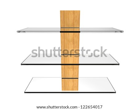 Glass Wall Shelf isolated on a white background - stock photo