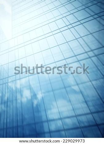 Glass walls of skyscraper - stock photo