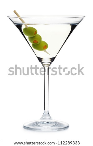 glass with alcohol and olives - stock photo