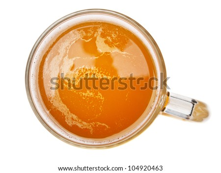 glass with beer isolated on white. Top view. - stock photo