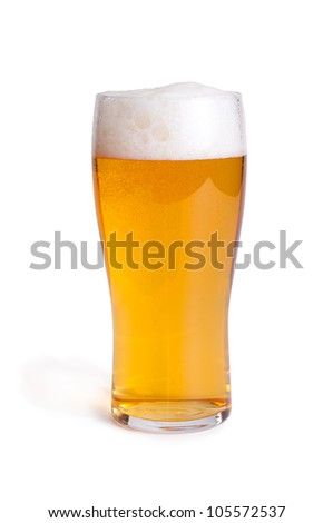 glass with beer on white - clipping path included - stock photo