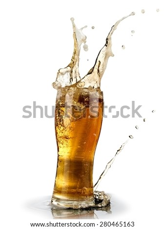 Glass with beer splash - stock photo