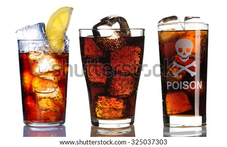 Glass with cola collection isolated on white - stock photo