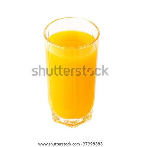 Glass with fresh multifruit juice on white - stock photo