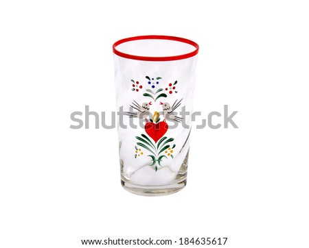 Glass with heart - stock photo