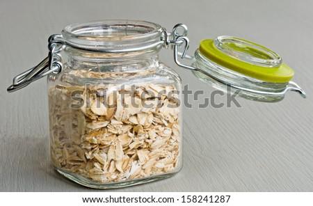 glass  with muesli - stock photo
