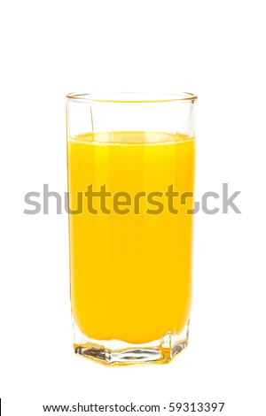 Glass with orange juice on the white - stock photo