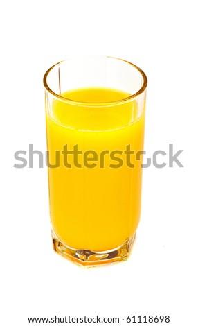Glass with orange juice on the white - stock photo