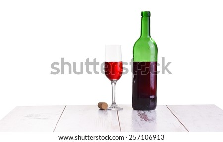 glass with red wine bottle on white background, elegant and expensive red glass and bottle wine for mounting graphic design - stock photo