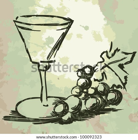 Glass with wine and grapes vine on grunge background. - stock photo
