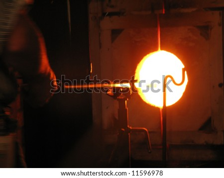 Glassblower's glory hole - stock photo