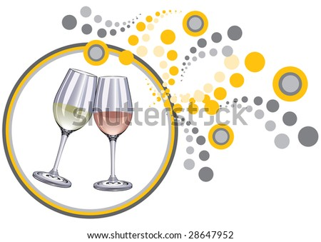 glasses and decorate background - stock photo