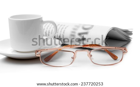 Glasses and newspapers, isolated on white - stock photo