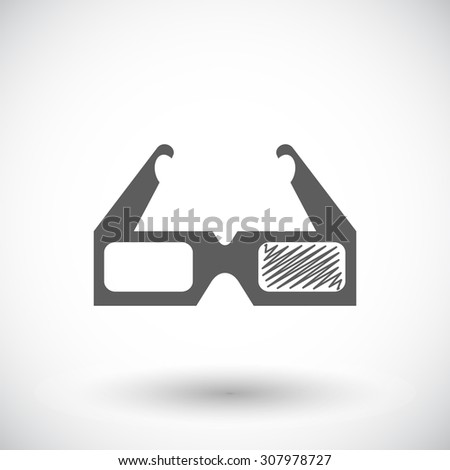 Glasses 3D. Single flat icon on white background.  illustration. - stock photo
