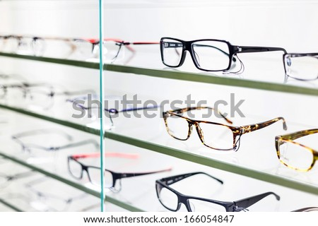 glasses displayed - stock photo