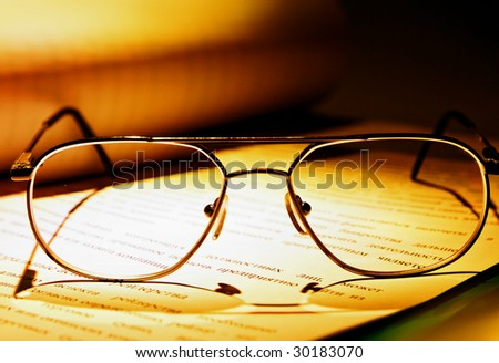 glasses & document - stock photo