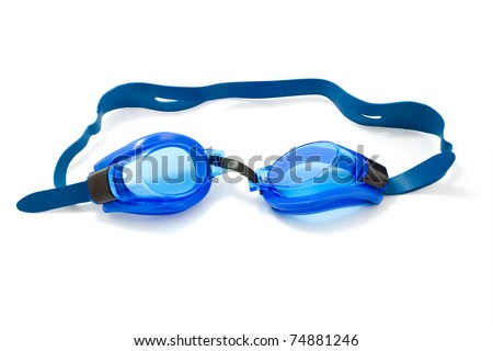Glasses for swimming on a white background - stock photo