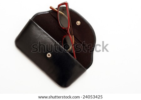 Glasses in the leather case - stock photo