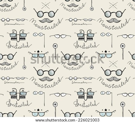 Glasses Labels Sketchy Drawing Seamless Pattern Background. Raster variant. - stock photo