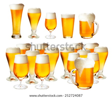 Glasses of beer with froth- excellent quality - stock photo