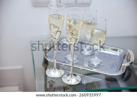 glasses of champagne at a wedding ceremony - stock photo