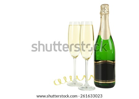 Glasses of champagne with bottle on a white background - stock photo