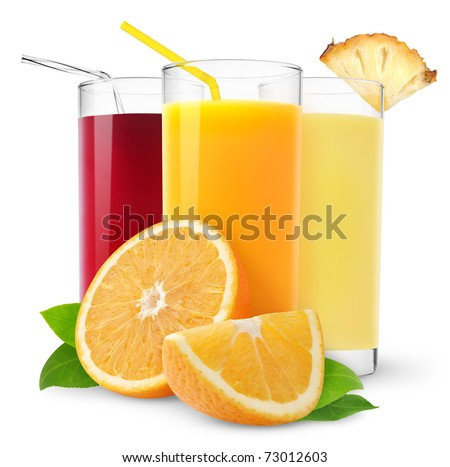 Glasses of orange, pineapple and cherry juice isolated on white - stock photo