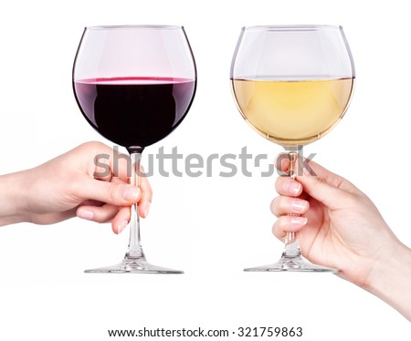 Glasses of red and white wine with splashes in hand isolated on a white background - stock photo