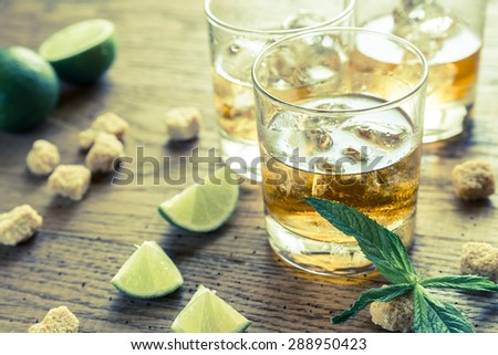 Glasses of rum - stock photo