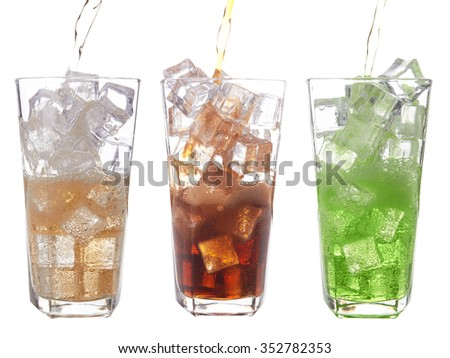glasses of sweet water with ice cubes  - stock photo