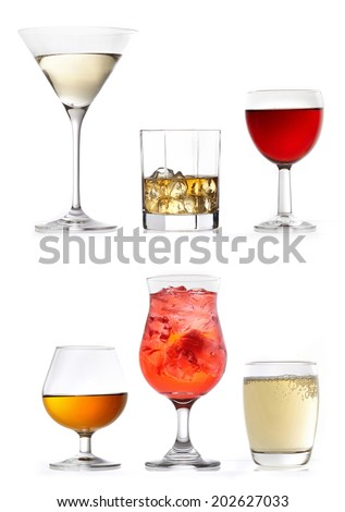 glasses of various drinks on a white background - stock photo