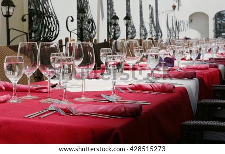 glasses of water on the elegant table - stock photo