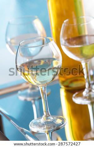 Glasses of white wine - stock photo