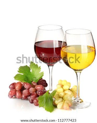 glasses of wine and ripe grapes isolated on white - stock photo