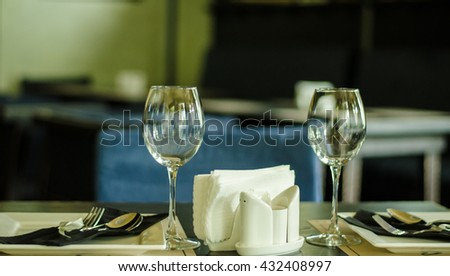 glasses of wine on the table - stock photo