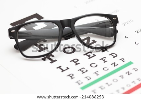 Glasses on an eye chart. - stock photo