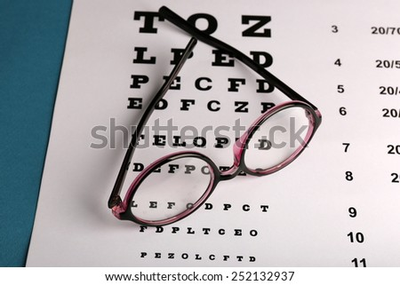 Glasses on eye chart close-up - stock photo