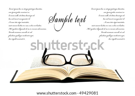 glasses on open book isolated on white with space for text - stock photo
