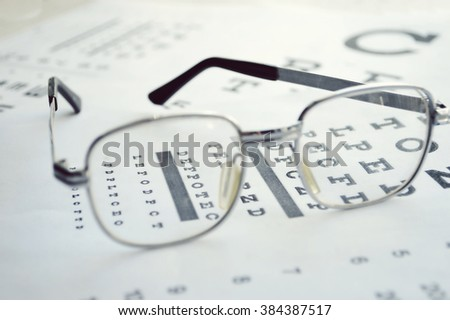 Glasses on test chart. - stock photo