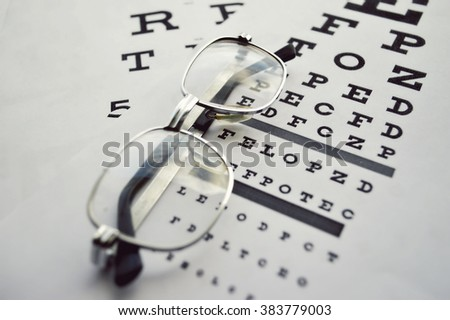 Glasses on test chart.Eye chart  extreme closeup.Eyes Examination, glasses diopter check up - stock photo