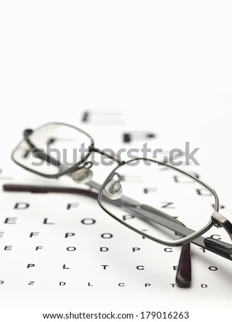 glasses on the eye test chart ,for,health care,Distance Vision Test themes - stock photo