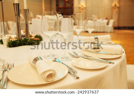 glasses on the table - stock photo