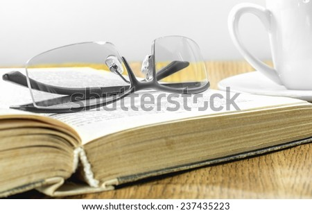 glasses open book cup of coffee��¾��º��? - stock photo