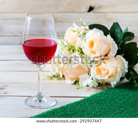 Glasses set with dinner table,dinner table with rose  - stock photo