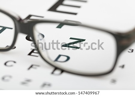 glasses test chart macro closeup - stock photo