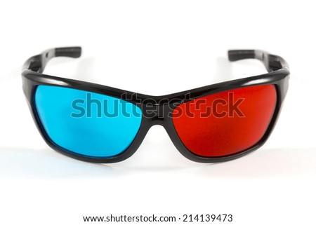 Glasses to view pictures and video and create a 3D effect on white background - stock photo
